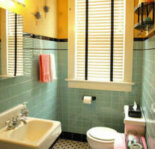 Kristen and Paul's 1940s style aqua and black tile bathroom, built from scratch