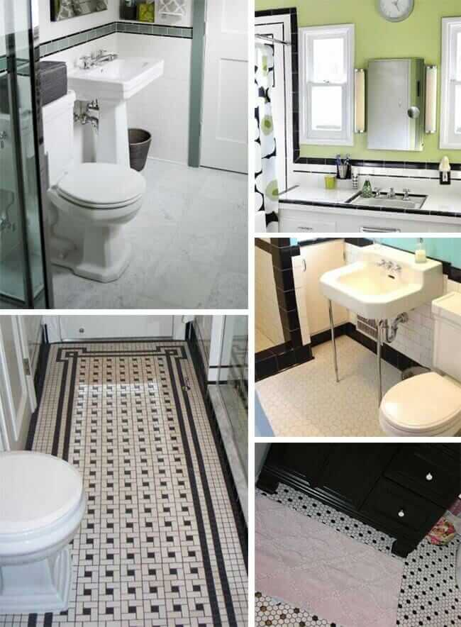 black and white tile bathrooms done 6 different ways retro