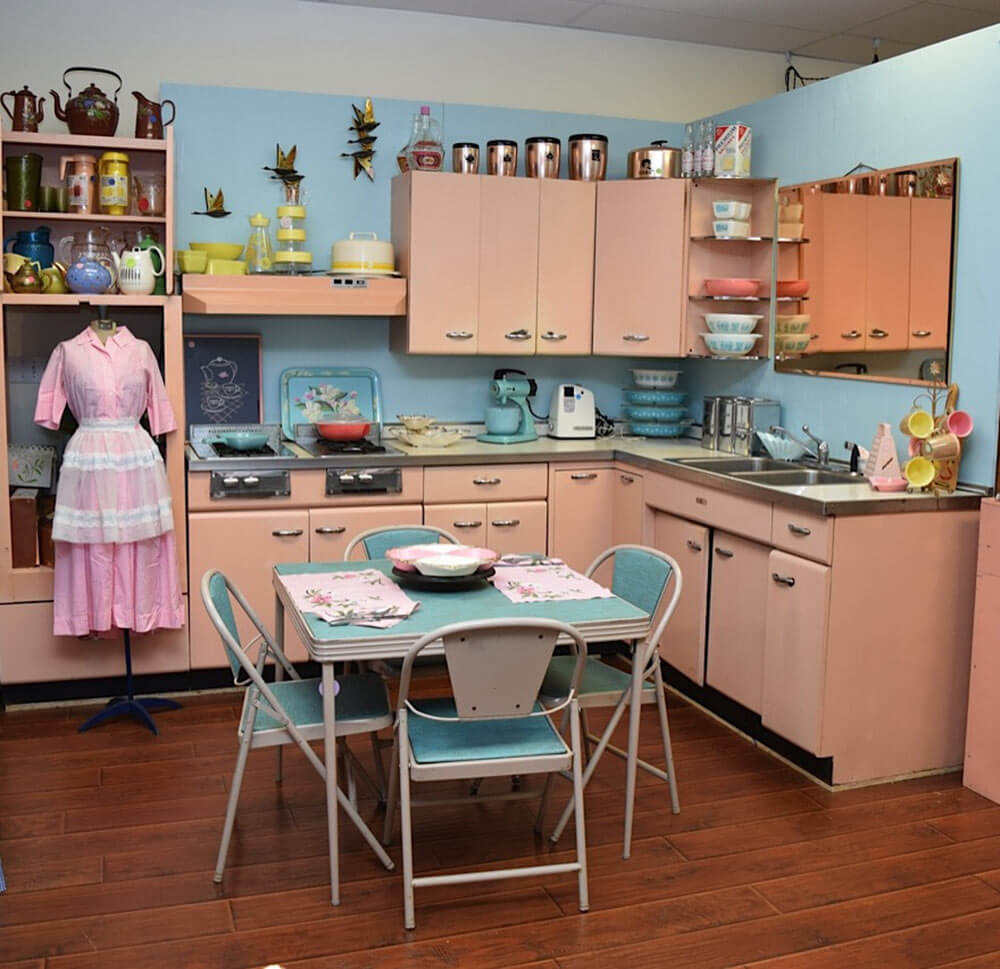 Amy saves a 1957 harrison pink steel kitchen now on for Kitchen kitchen cabinets