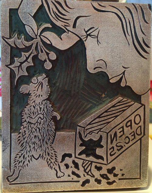 midcentury linoleum block print