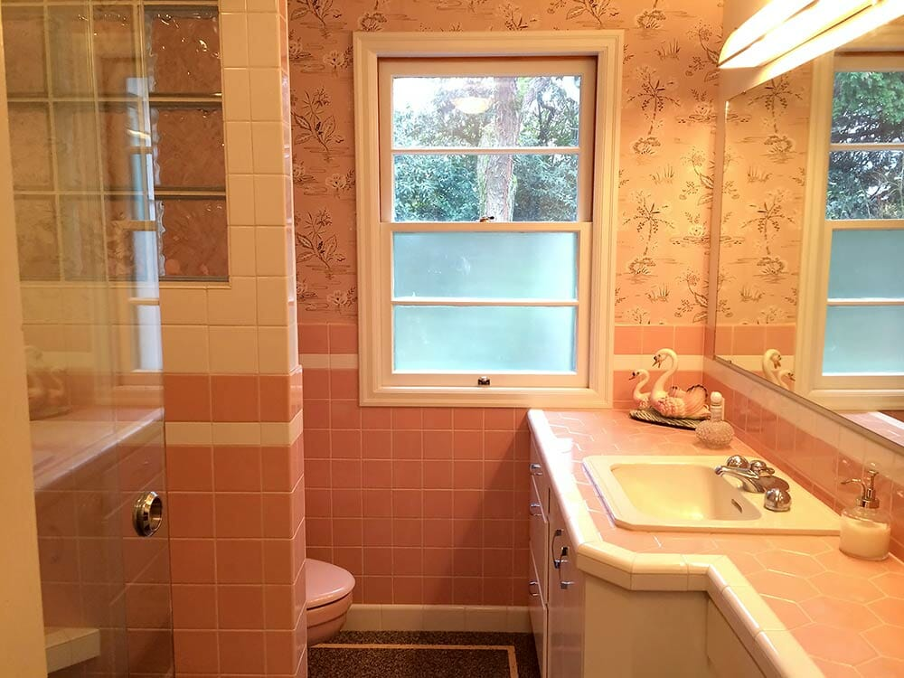 enchanting pink ceiling bathrooms | Nanette & Jim's Mamie pink bathroom - built from scratch ...
