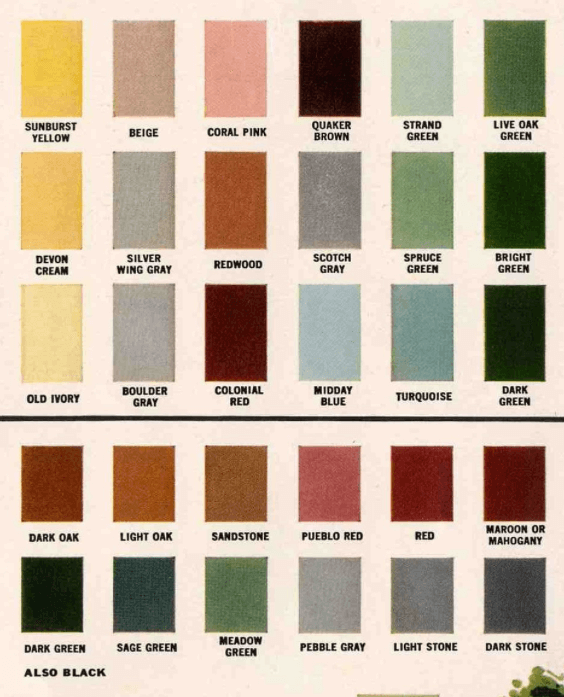exterior paint colors 1960s