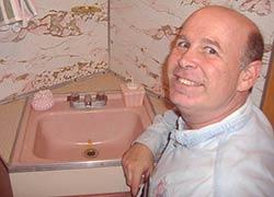 vintage pink sink