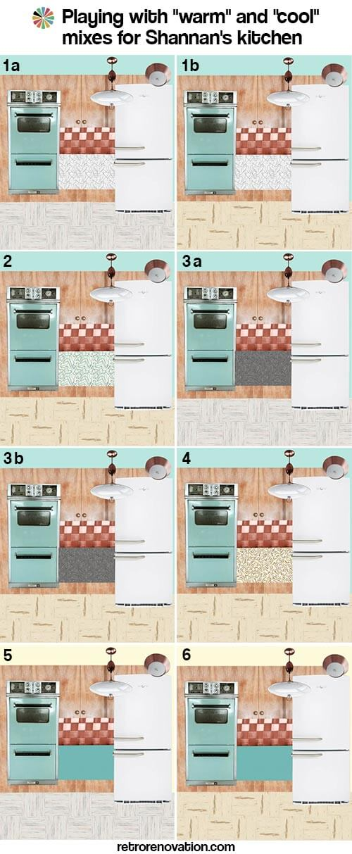 retro kitchen warm cool color mix