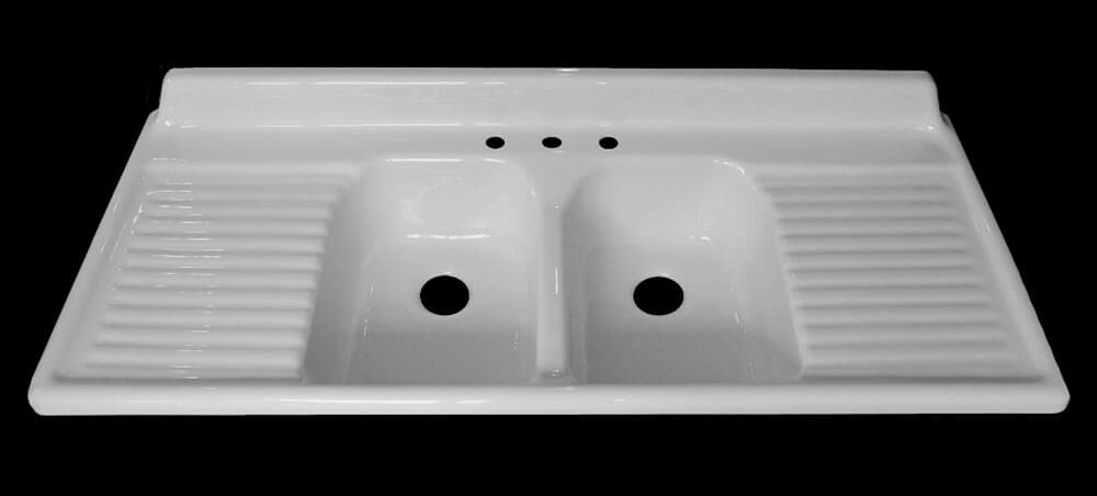 Nice double bowl double drainboard sink
