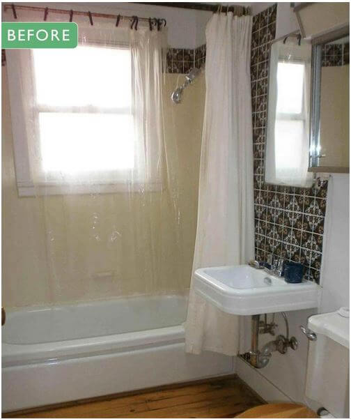 Vintage bathroom remodel before after