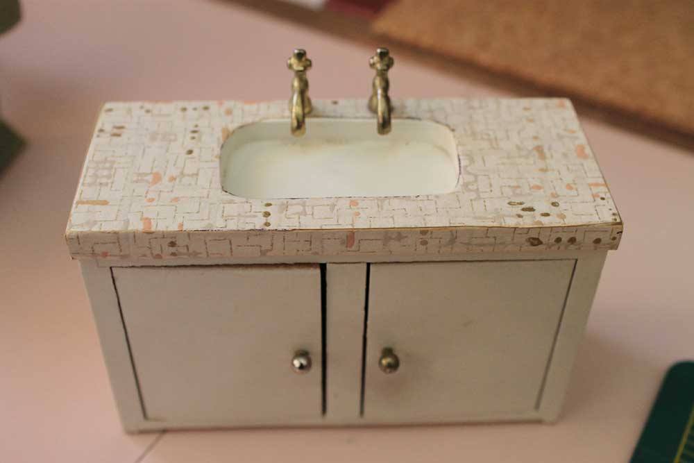 A Vintage Pink Bathroom For The Dollhouse Including