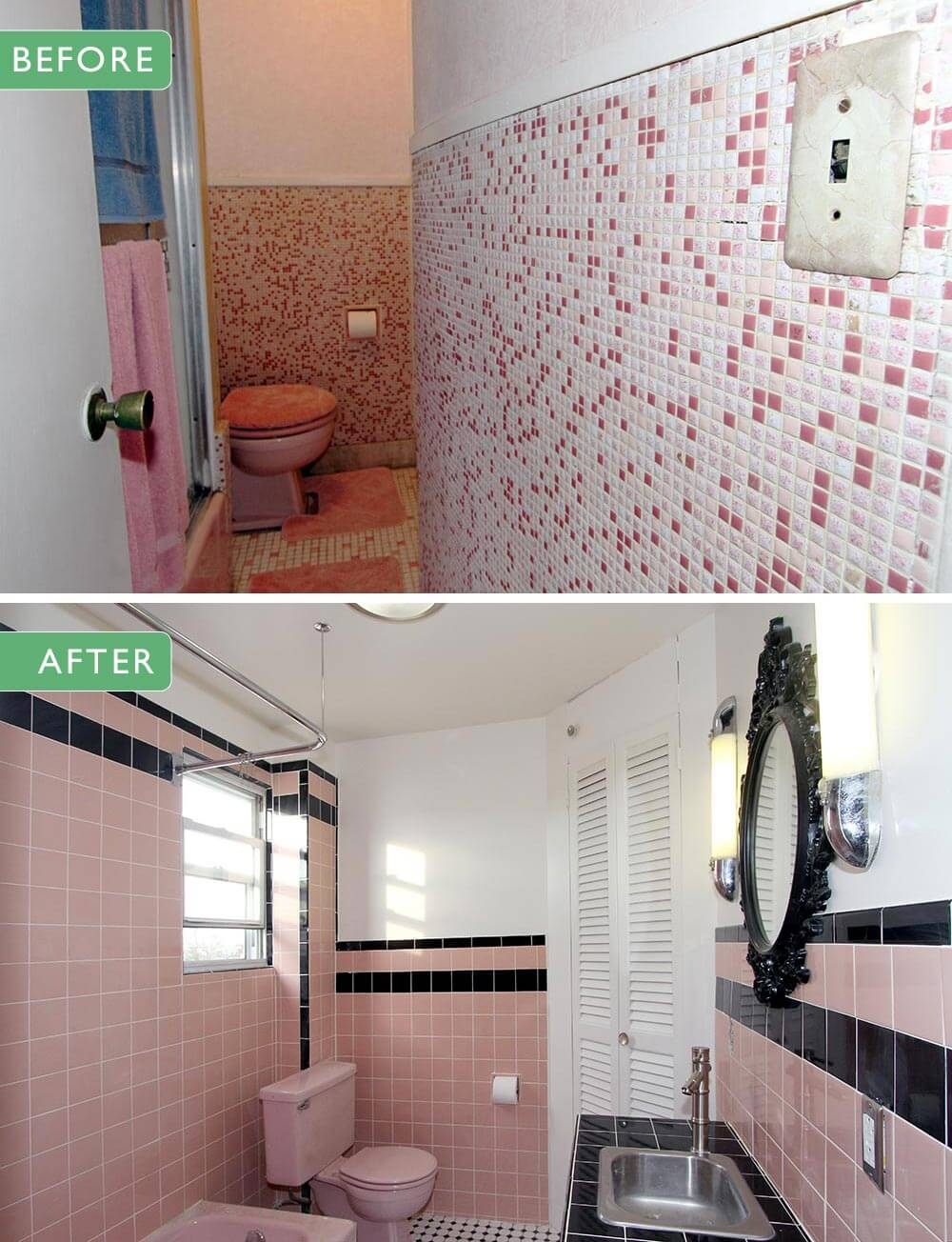 save the pink bathrooms - 1950s Bathroom Remodel Before And After