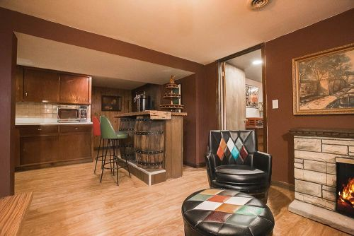 Whiskey barrel a go go inside trixi and jon 39 s retro for Retro basement ideas