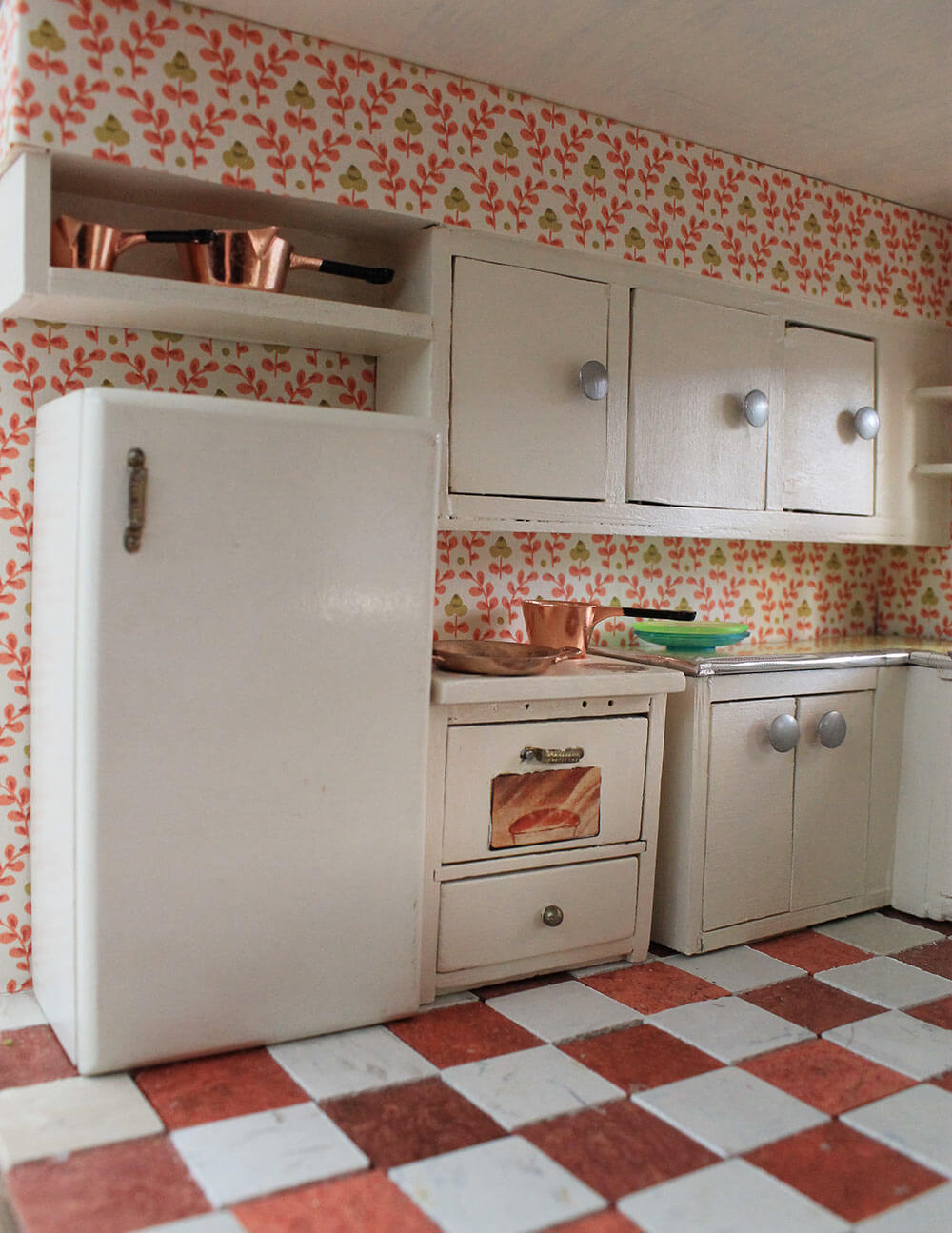 Vintage Kitchen Flooring A Vintage  Custom Kitchen For The Betsy Mccall Dollhouse  Retro