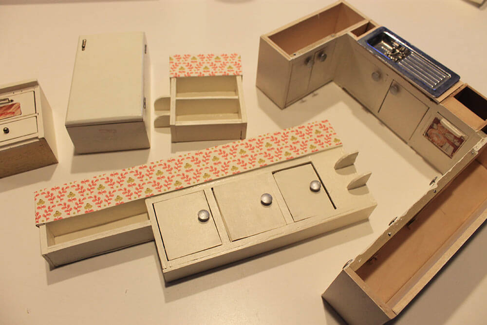 Kitchen Cabinets Vintage a vintage + custom kitchen for the betsy mccall dollhouse - retro