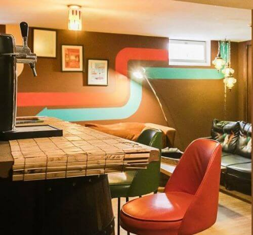 retro basement bar