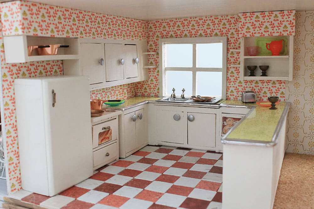 dollhouse kitchen midcentury retro dollhouse kitchen midcentury retro - Dollhouse Kitchen