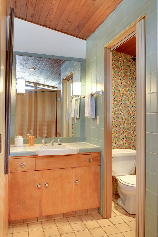 mid century tile bathroom design a confetti tile bathroom wall using clayhaus 19460