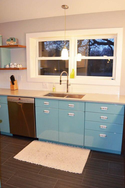 Metal Kitchen Cabinets Vintage sam has a great experience with powder coating her vintage steel