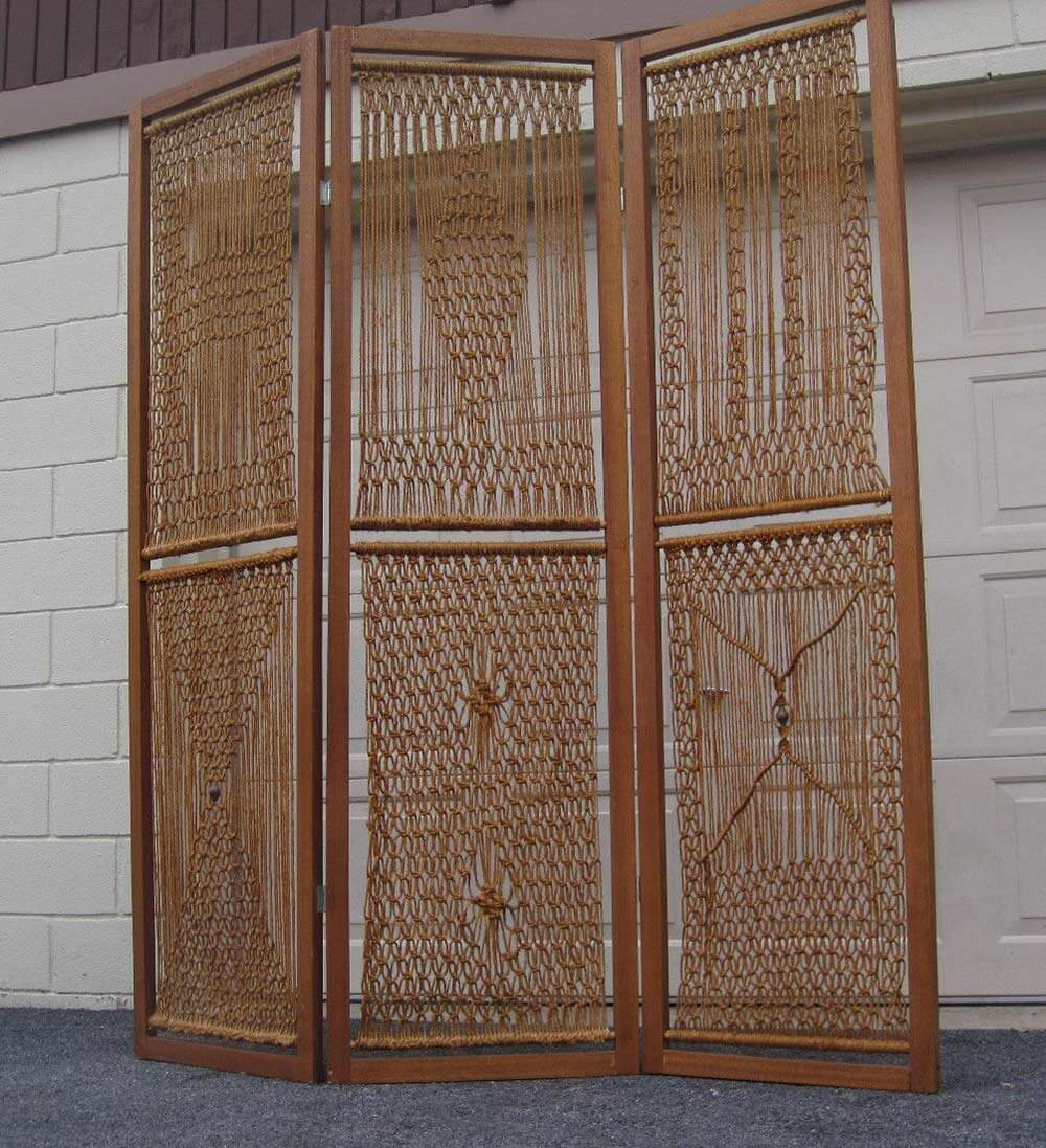 Vintage macrame room divider screen Retro Renovation