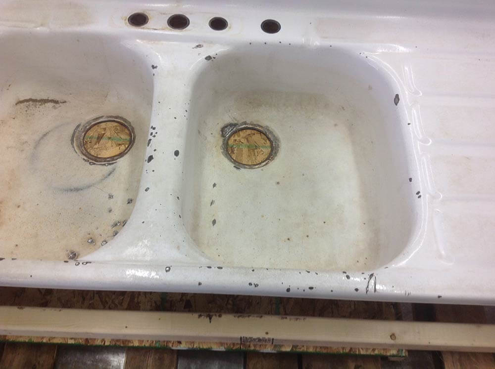 Refinish Porcelain Kitchen Sink Before After