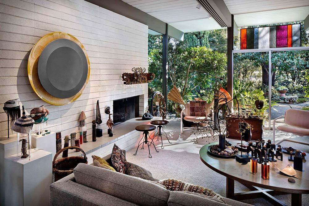fireplace wall in a historic eichler house