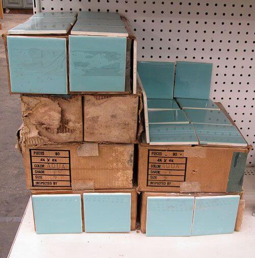 vintage blue bathroom tile