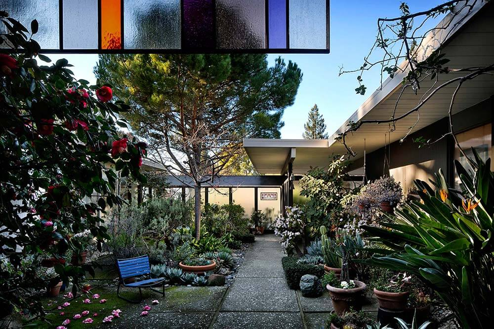 landscaping midcentury at eichler house owned by kahns