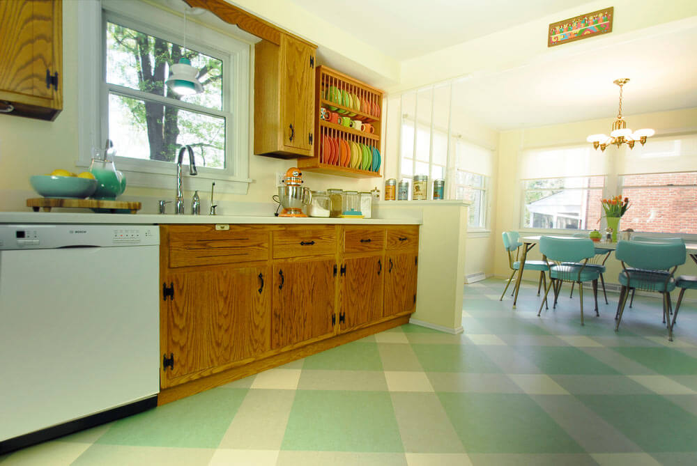 retro aqua kitchen