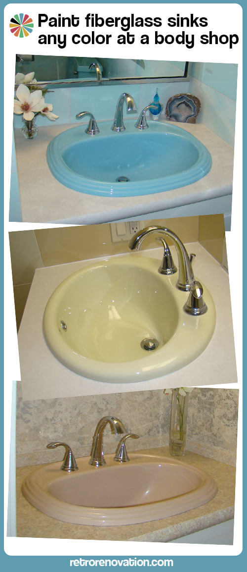 Paul paints 3 fiberglass bathroom sinks different colors at an ...