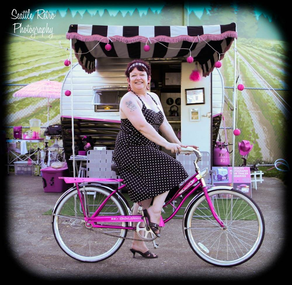 tammy with vintage trailer and pink bike