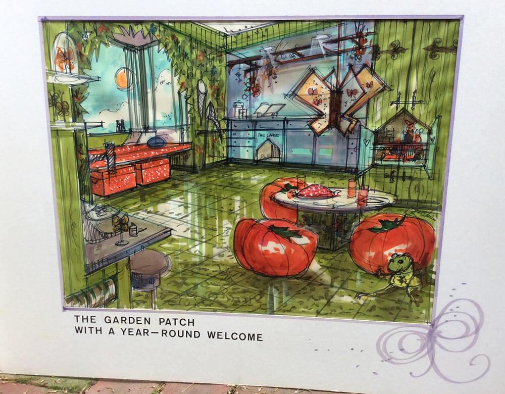 illustration of a garden themed room