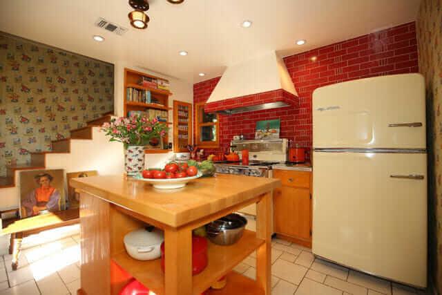 big chill retro refrigerator in a california kitchen