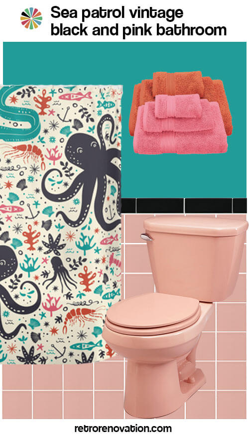 vintage pink and black bathroom