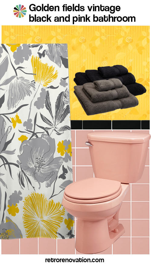 black and pink vintage bathroom