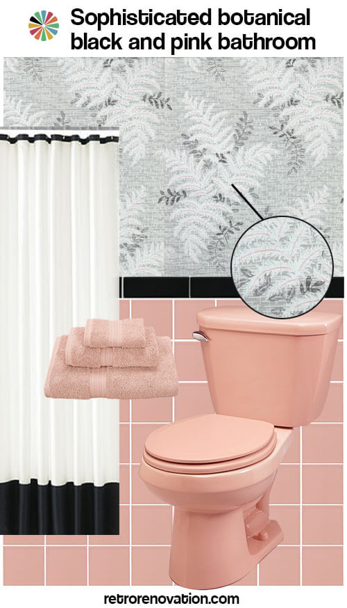 Superbe Vintage Pink And Black Bathroom