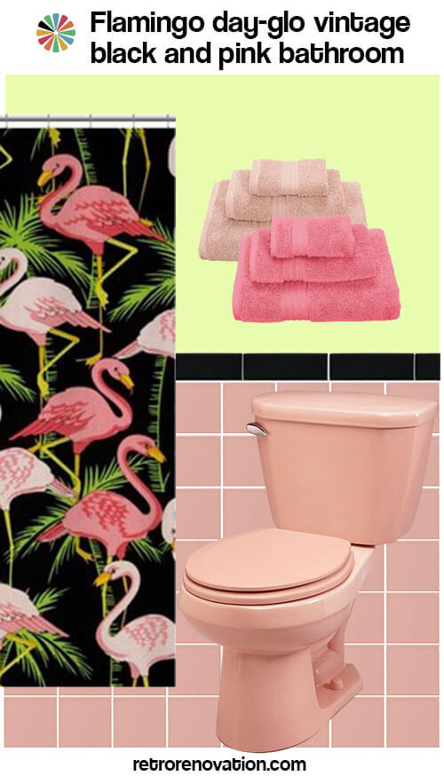 Vintage Pink And Black Bathroom Flamingo