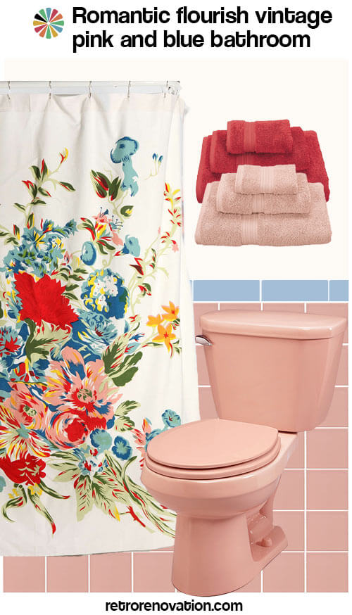 vintage pink and blue bathroom