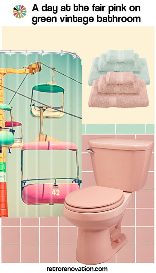 pink and green vintage bathroom