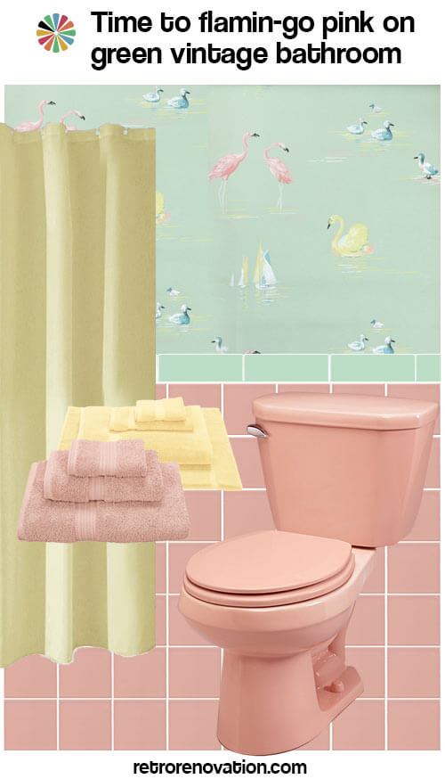 vintage pink and green bathroom