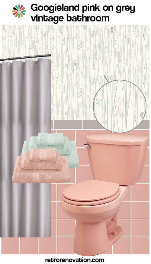 Pale pink bathroom accessories home design plan for Red and gray bathroom sets
