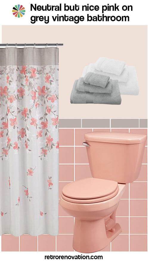 12 ideas to decorate a pink and gray vintage bathroom for Pink grey bathroom accessories