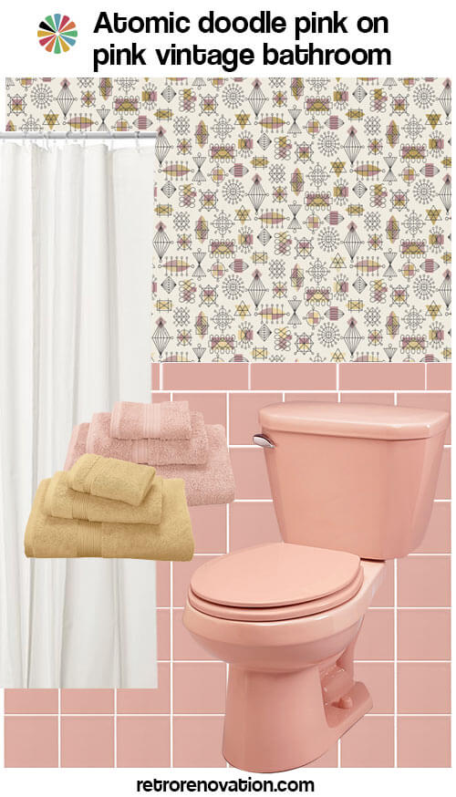 Decorating An All Pink Tile Bathroom Taking Color Combo Inspiration From Wallpaper