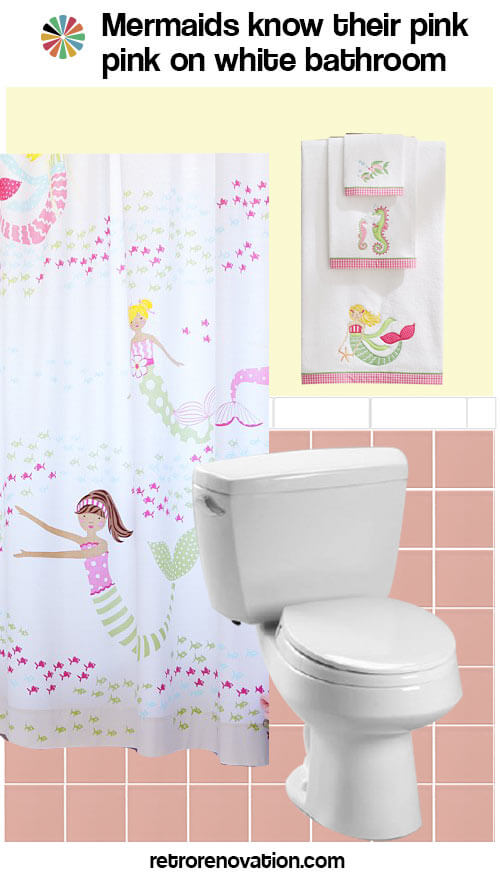 vintage pink and white bathroom