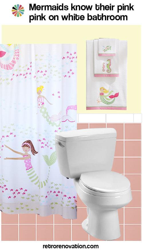 vintage pink and white bathroom