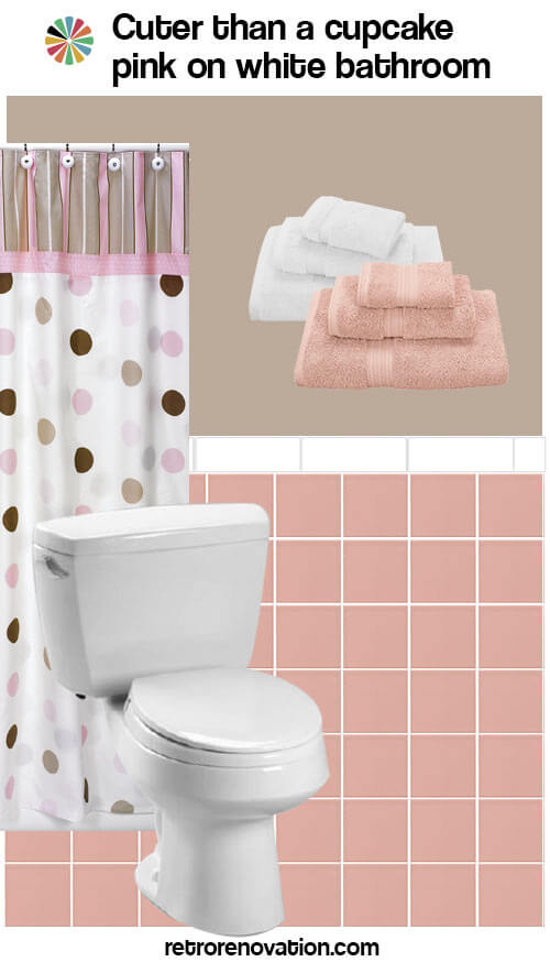 pink and white vintage bathroom