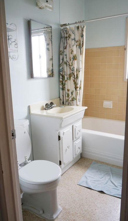 vintage mint green bathroom