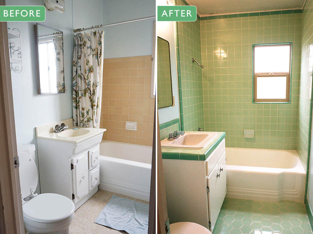 Lauras green BW Tile bathroom remodel in progress Retro Renovation