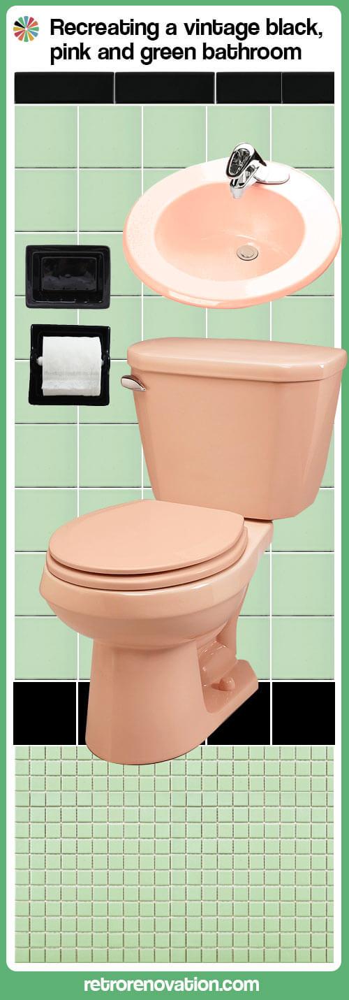 vintage green black and pink bathroom