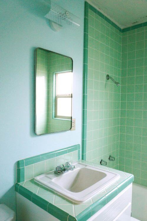 Laura 39 s green b w tile bathroom remodel in progress for Different bathrooms
