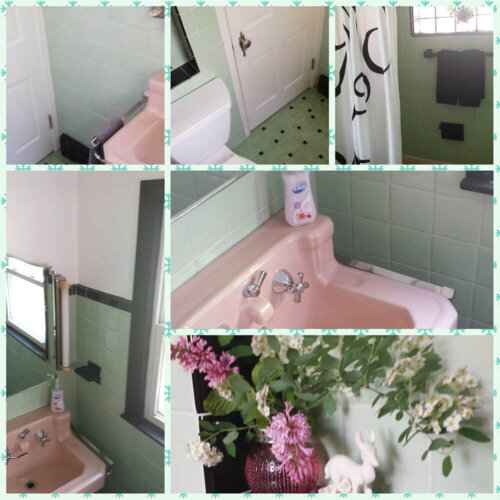vintage green black and pink bathroom