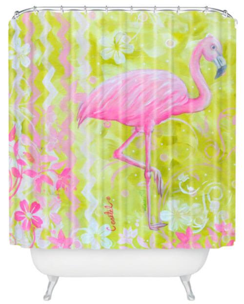flamingo shower curtain
