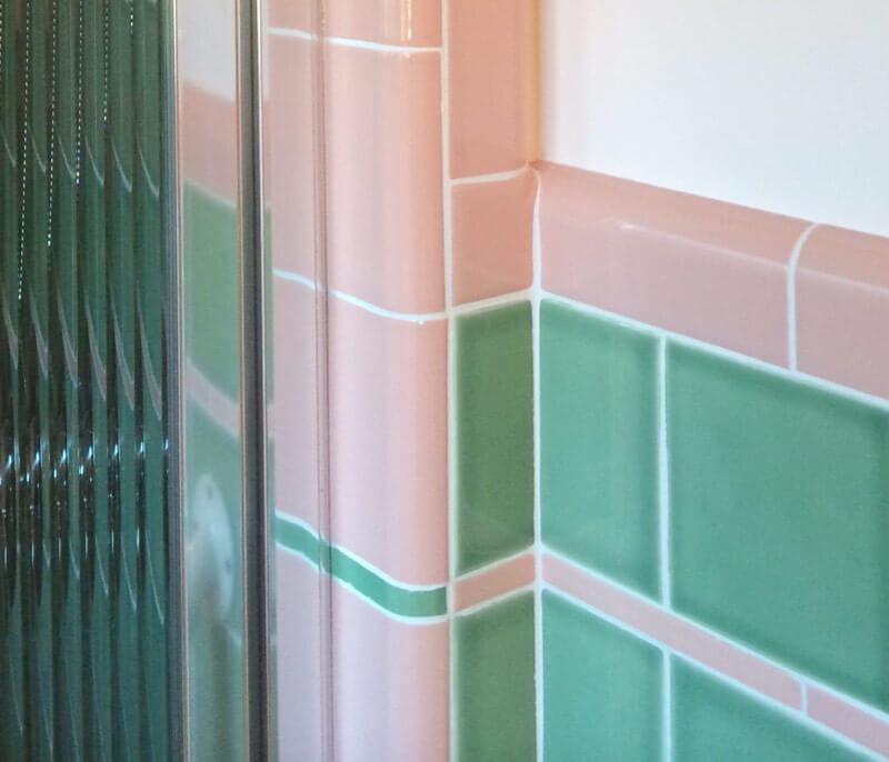 See Jane Design A Vintage Style Green And Pink Tile Bathroom For - 1950s bathroom tile