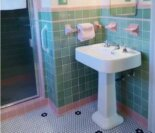 See Jane design: A vintage style green and pink tile bathroom for her 1939 brick Colonial house